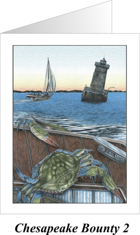 Chesapeake Bounty 2 - Sharps Island Lighthouse Note Cards - JWB Art Unlimited