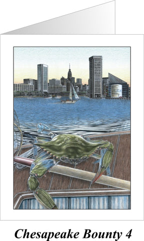 Chesapeake Bounty 4 - Baltimore Harbor Note Cards - JWB Art Unlimited