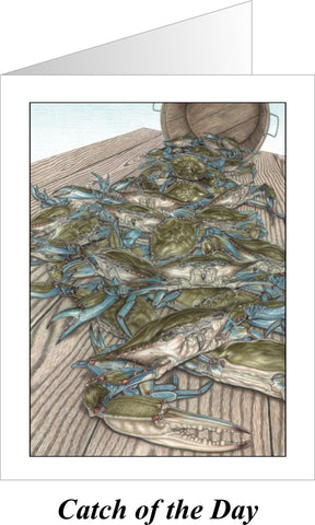 Catch of the Day Blue Crabs Note Cards - JWB Art Unlimited