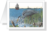 Fishing the Magothy Blue Heron Note Cards