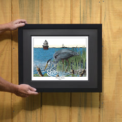 Fishing the Magothy Blue Heron Print - JWB Art Unlimited