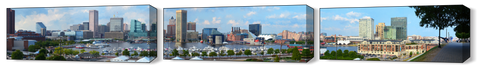 The Baltimore Harbor Far View Full 3pc Canvas Set - JWB Art Unlimited