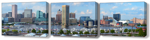 Baltimore Harbor Close-Up Canvas Full 3-pc Set