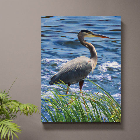 Grey Joy Blue Heron Art Print or Canvas