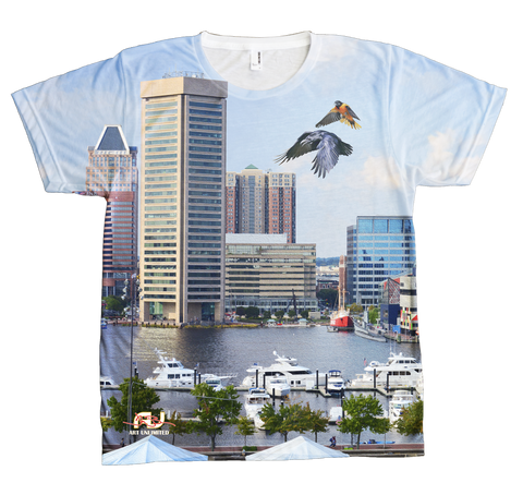 T-Shirt - Wrap-Around Baltimore Harbor Design - JWB Art Unlimited