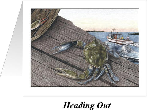 Heading Out Crab Note Cards