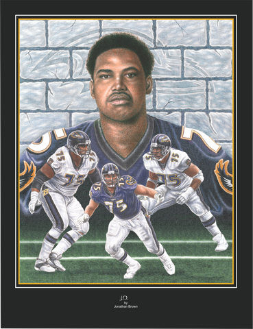 Baltimore Raven Jonathan Ogden Portrait Art Print - JWB Art Unlimited
