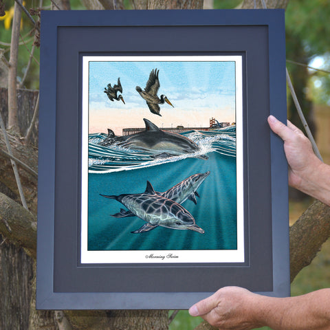 Morning Swim Dolphins & Pelicans Wall Art - JWB Art Unlimited
