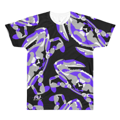 "T-Shirt - All-Over Purple on Black ""Craboflage"" Design - JWB Art Unlimited"