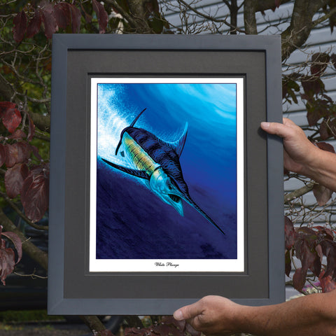 White Plunge White Marlin Print or Canvas - JWB Art Unlimited