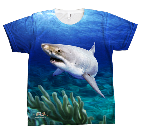 T-Shirt - All-Over White Water Shark Design - JWB Art Unlimited