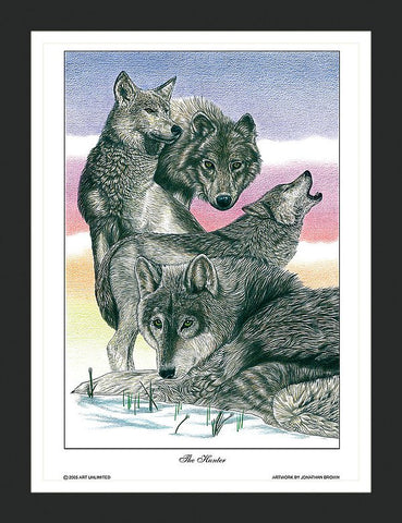 The Hunter Gray Wolf Wall Art