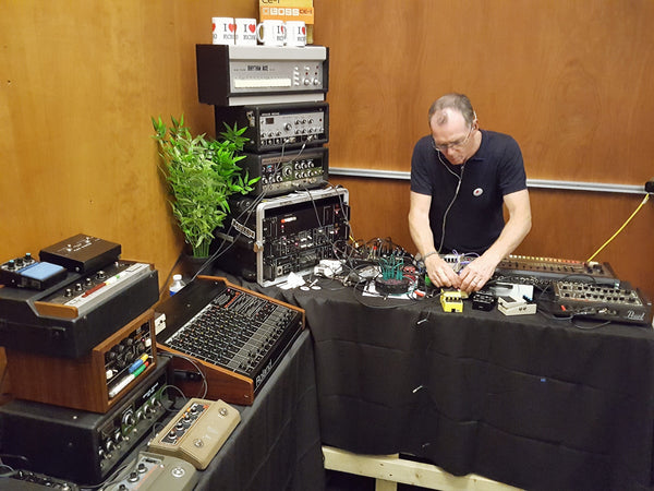Tony on the vintage Roland rig at Boss Cause & Effects