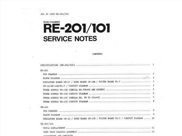 Roland RE-201 & RE-101 Service Manual