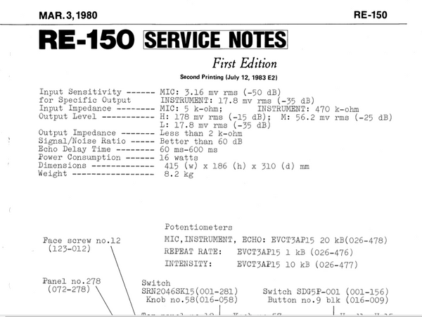 Roland RE-150 Service Manual