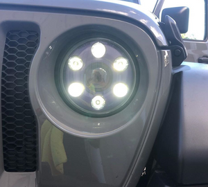 "Jeep 7"" Round LED Headlight - LB: 2100 lux HB: 2880 lux"
