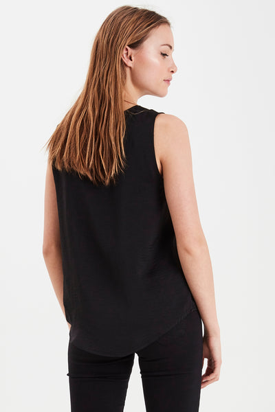 ICHI Black Sleeveless Blouse