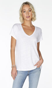Bobi Luxe Linen High-Low V-Neck Tee - 2 Colours
