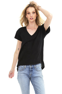 Bobi V-Neck High Low T-Shirt - 2 Colours