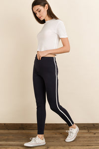 Dress Forum Side Stripe High Waisted Leggings - Navy