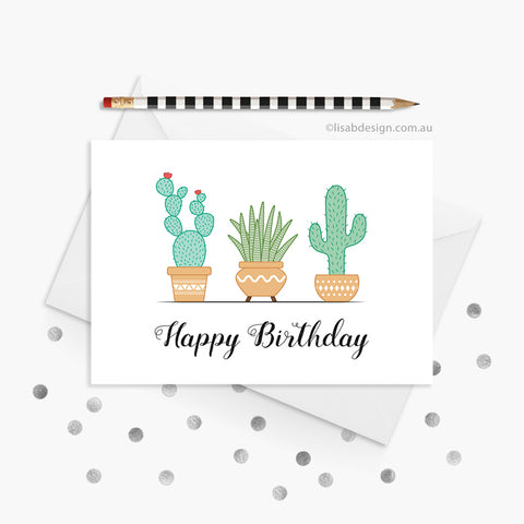 Cute Cactus Birthday Card