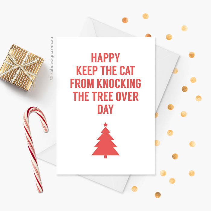 Cat Christmas Tree Card