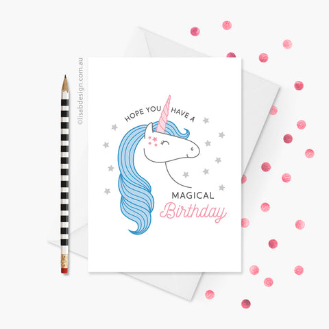 Unicorn Magical Birthday Card