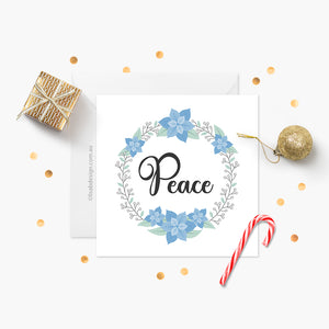Poinsettia Christmas Card - Peace