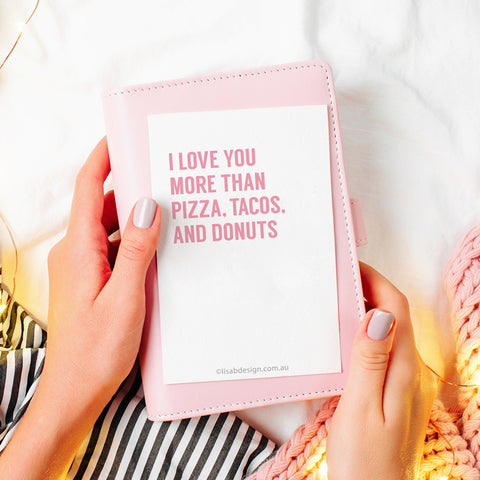 Pizza, Tacos, and Donuts Valentine's Card