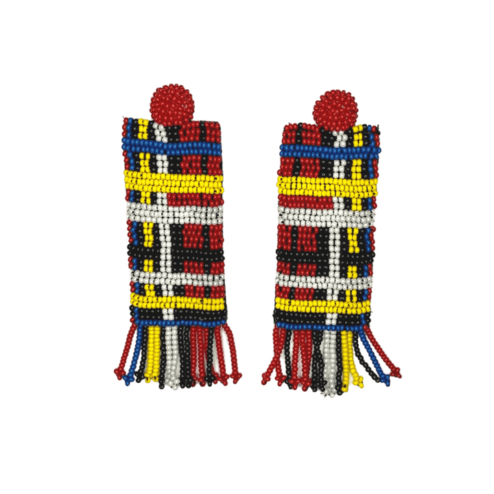 The Tartan Column Fringe Earrings