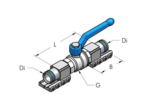 Teseo AP Ball Valve Complete dimensional drawing