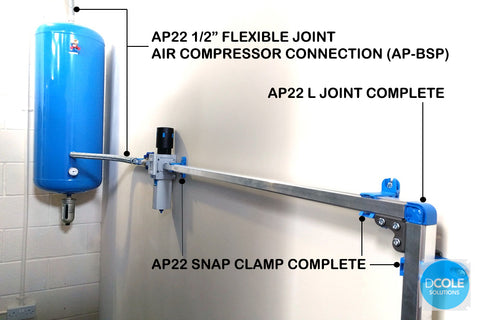 Teseo AP Flexible Joint Air Compressor Connection D Cole Solutions diagram