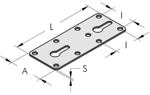 Teseo HBS Straight Plate In Galvanised Steel