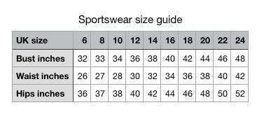 Luesque leggings sportswear size guide