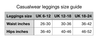 Luesque leggings casualwear size guide
