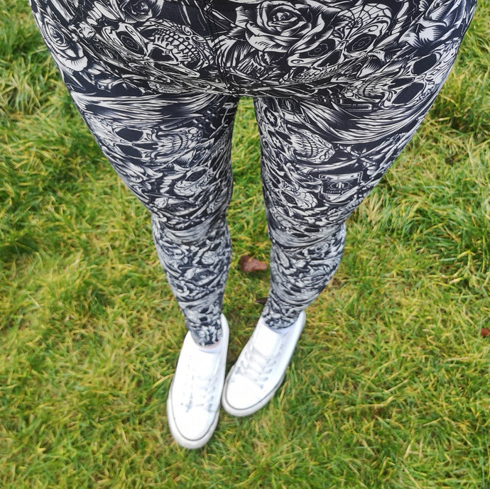 Luesque Monochrome Skulls Casualwear Leggings