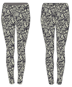 Luesque PREORDER Monochrome Skulls Casualwear Leggings