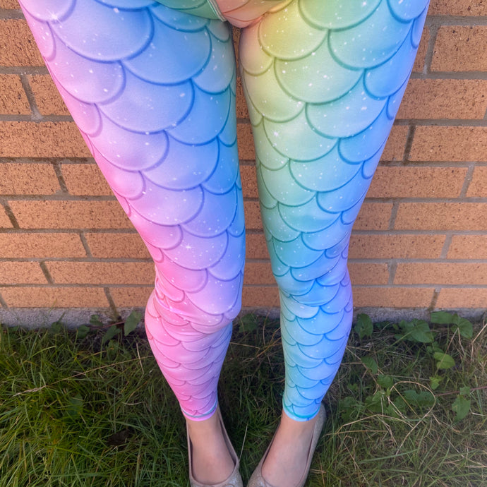 VERSION 3 Holographic Mermaid Full Length Leggings