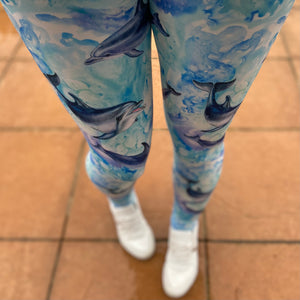 Luesque Diving Dolphins NEW Yoga Band Casualwear Leggings