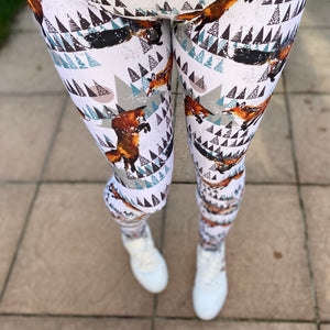 Luesque Frolicking Foxes Full Length Leggings