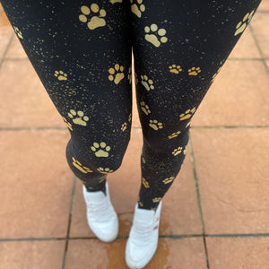 Luesque Golden Paw Prints NEW Yoga Band Casualwear Leggings