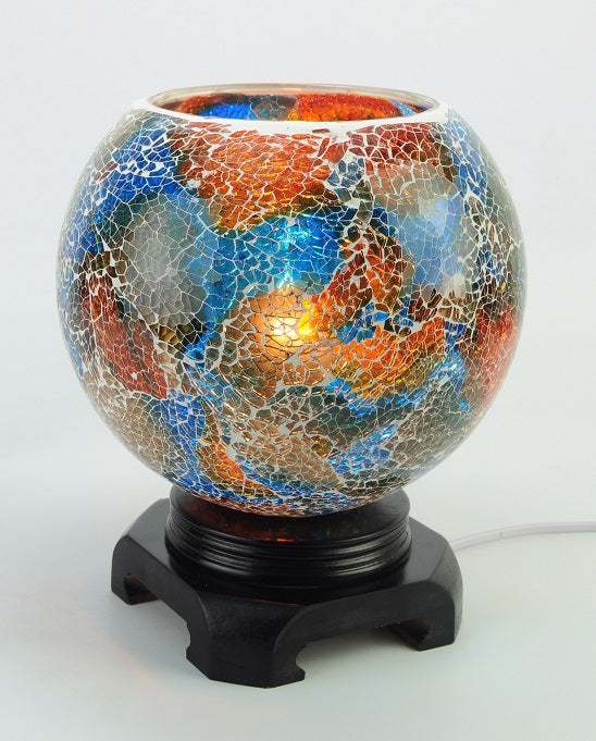 Blue and Orange Globe - Electric Touch Lamp