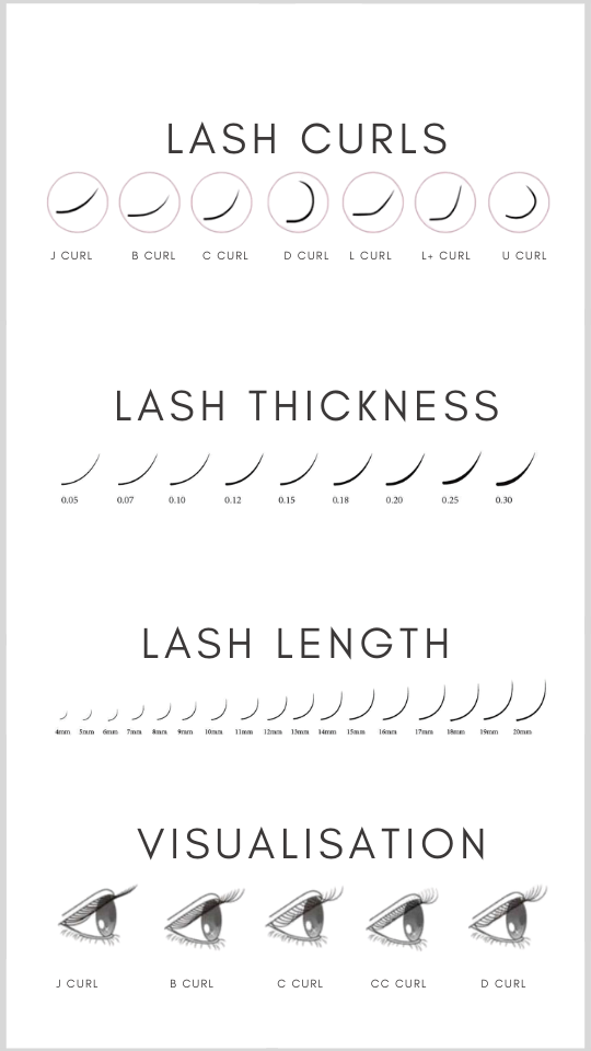 Lash Curl thickness length visualisation,