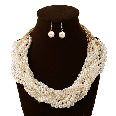 Bridal Pearl Exaggerated Multilayer Woven Necklace & Earring Set - PoacherOnline