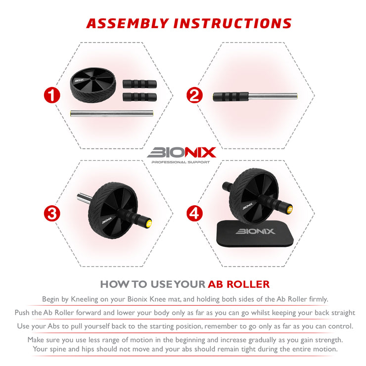 Four step assembly instructions graphic containing Black Ab Wheel Rolle