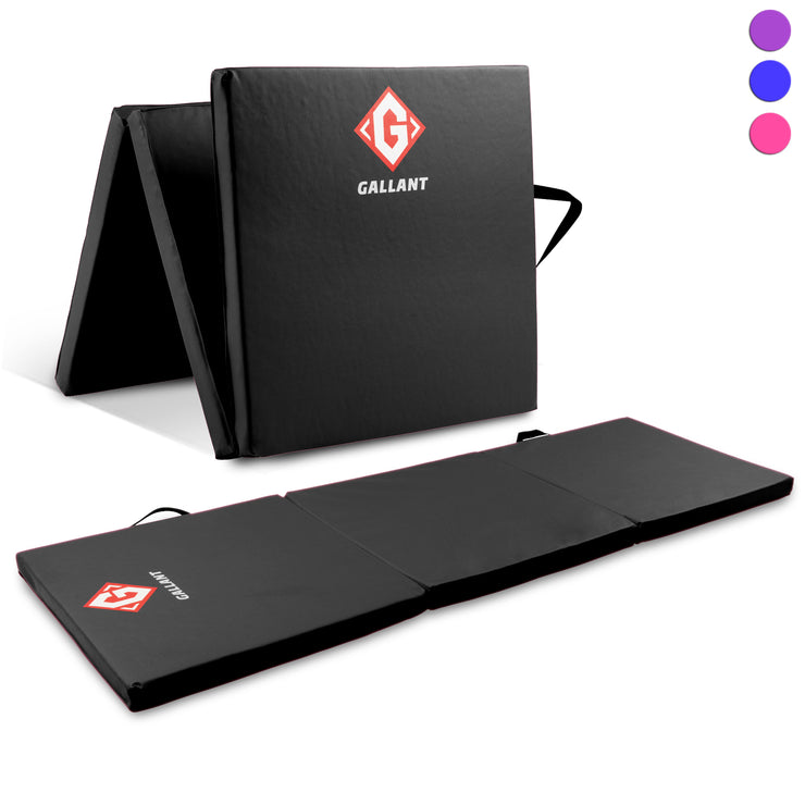 Black tri-folding mat open and folded