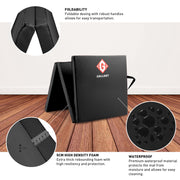 Black tri-folding mat with details