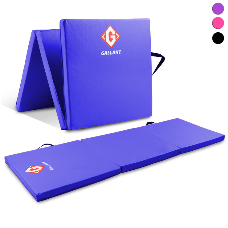 Blue tri-folding mat open and folded