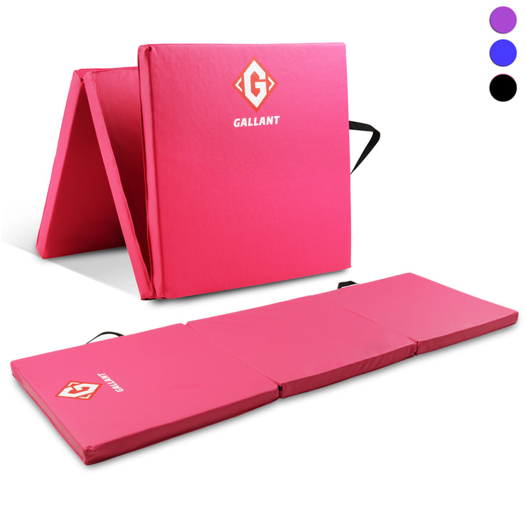 Pink tri-folding mat open and folded