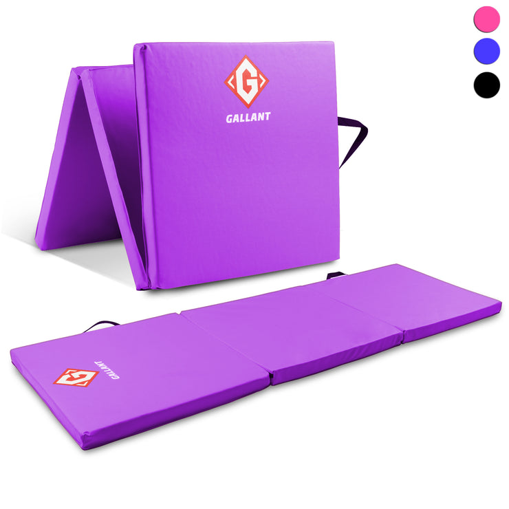 Purple tri-folding mat open and folded